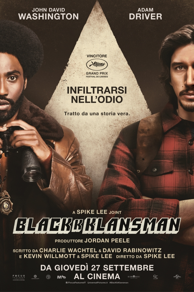 blackkklansman, poster, locandina, spike lee, adam driver, foto